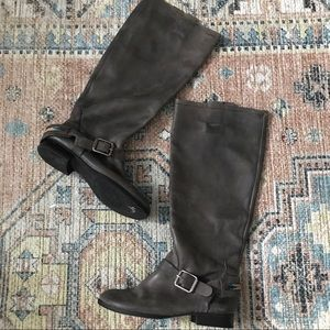 Lucky Brand Gray Leather Equestrian Tall Boots 9